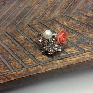 Coral Multimedia Ring with Rhinestone and Pearls